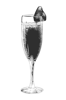 Hand gezeichnete skizze des champagners mit erdbeere