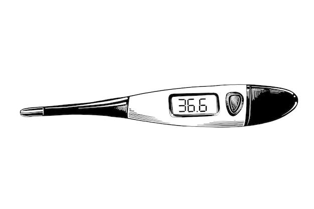 Hand gezeichnete skizze des digitalen thermometers im schwarzen