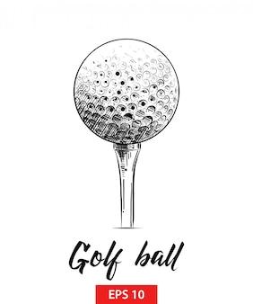 Hand gezeichnete skizze des golfballs im schwarzen