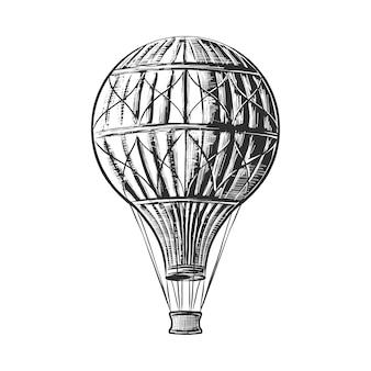 Hand gezeichnete skizze des heißluftballons