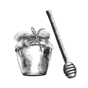 Hand gezeichnete skizze des honigs und des hölzernen schöpflöffels