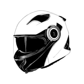Hand gezeichnete skizze des motorradsturzhelms im schwarzen