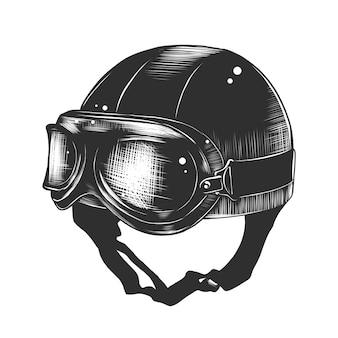 Hand gezeichnete skizze des motorradsturzhelms