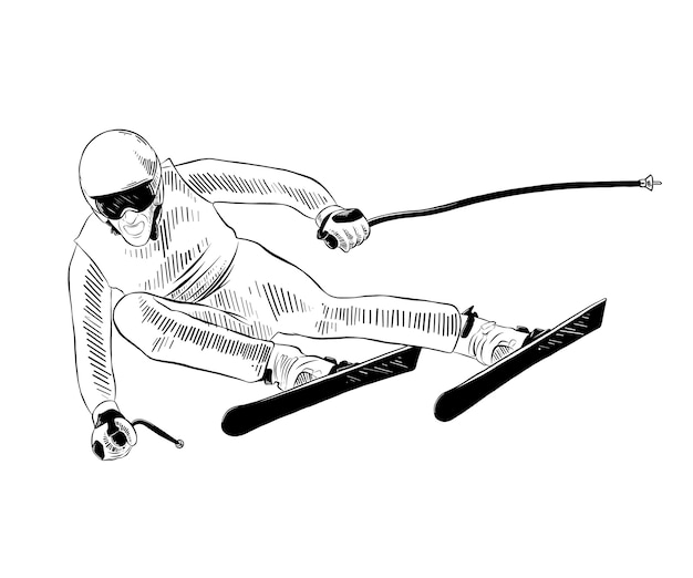 Hand gezeichnete skizze des skifahrers im schwarzen