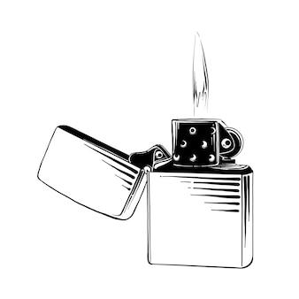 Hand gezeichnete skizze des stahlfeuerzeugs im schwarzen