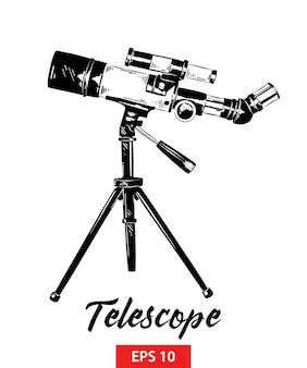 Hand gezeichnete skizze des teleskops im schwarzen