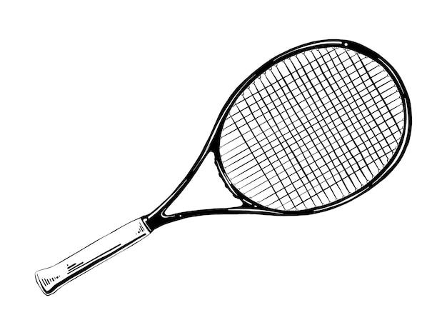 Hand gezeichnete skizze des tennisschlägers im schwarzen
