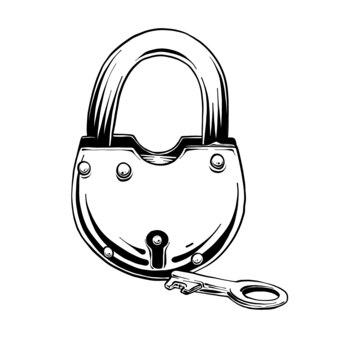 Hand gezeichnete skizze des verschlusses mit schlüssel