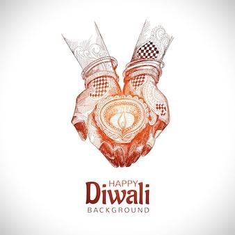 Hand gezeichnete skizze für hand, die indischen öllampen-diwali-festivalhintergrund hält