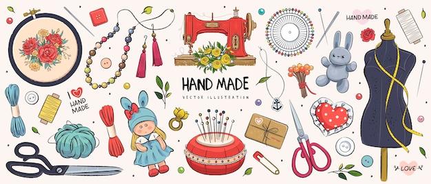 Hand gezeichnete skizze handgemachtes set