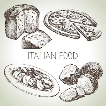 Hand gezeichnete skizze italienisches essensset