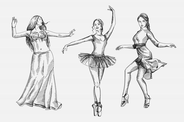 Hand gezeichnete skizze satz von tänzerinnen. das set beinhaltet eine lateinamerikanische gesellschaftstänzerin, eine balletttänzerin und einen frauentanz im orientalischen stil