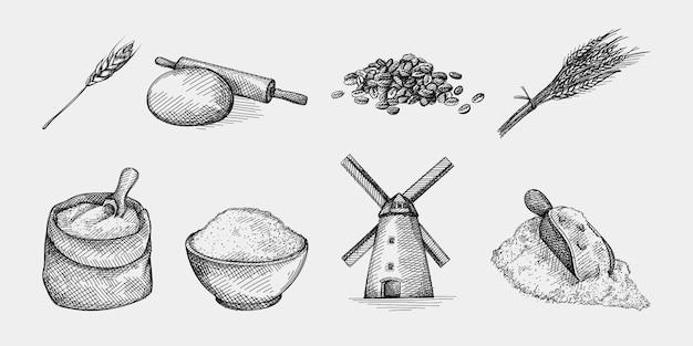 Hand gezeichnete skizze satz von weizen und mehl. mehlzutat. weizen- und mehlproduktion und -herstellung. weizenohren; mehl in schüssel, nudelholz und teig; windmühle; mehlschaufel weizenkörner