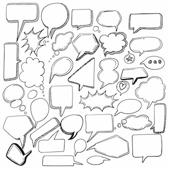 Hand gezeichnete skizze sprachblase set design