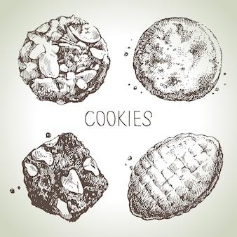Hand gezeichnete skizze süße kekse gesetzt. illustration