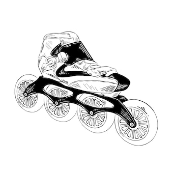Hand gezeichnete skizze von rollschuhen im schwarzen