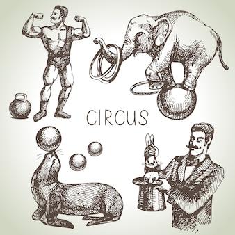 Hand gezeichnete skizze zirkus- und vergnügungsillustrationen. jahrgang