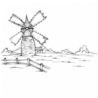 Hand gezeichnete skizzenillustration einer mühle panoramablick. skizzenzeichnung freihändige gezeichnetes bild der entwurfstinte hand flüchtig im kunstgekritzel-artstift auf papier