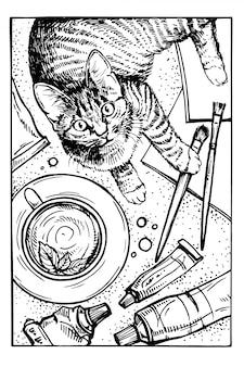 Hand gezeichnete skizzenkatze. kitty am künstlerarbeitsplatz. haustierportrait. bleistiftzeichnung kätzchen