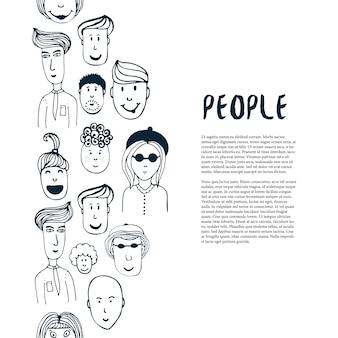 Hand gezeichnete skizzenleutesammlung. vektordesign-geschäftsschablone. border mit menschen für flyer, banner, poster, broschüre
