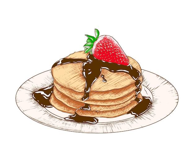 Hand gezeichnete skizzenpfannkuchen auf der platte