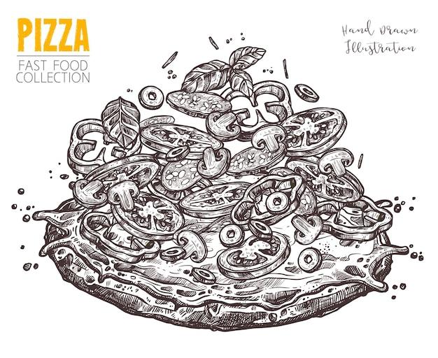 Hand gezeichnete skizzenpizza mit salami und gemüse. italienische gericht ganze pizza mit verschiedenen zutaten im gravierten vintage-stil