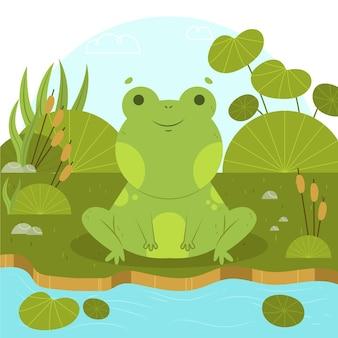 Hand gezeichnete smiley-frosch-illustration