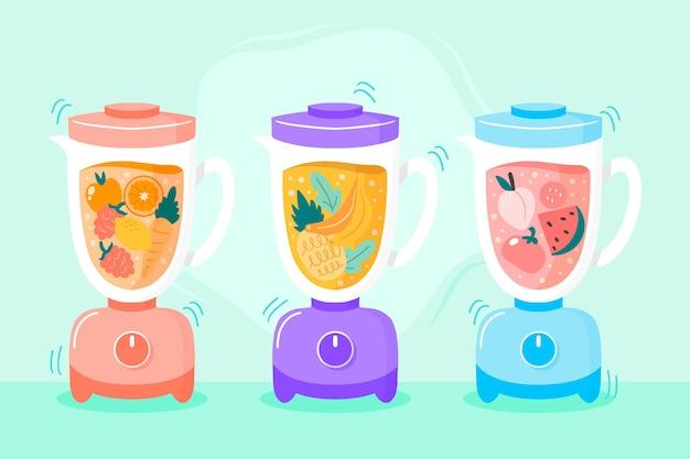 Hand gezeichnete smoothies im mixerglas