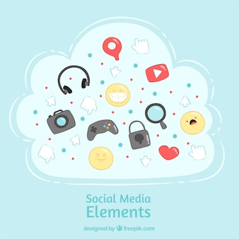 Hand gezeichnete social media elemente in einer wolkenform