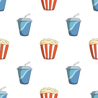Hand gezeichnete soda tasse und popcorn nahtloses muster