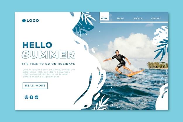 Hand gezeichnete sommer-landingpage-vorlage mit foto Kostenlosen Vektoren