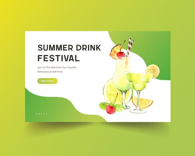 Hand gezeichnete sommer-webschablone