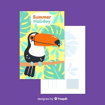 Hand gezeichnete sommerferienpostkarte