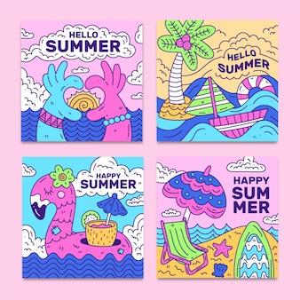 Hand gezeichnete sommerkartensammelschablone