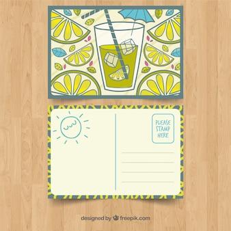 Hand gezeichnete sommerkartenschablone mit limonade
