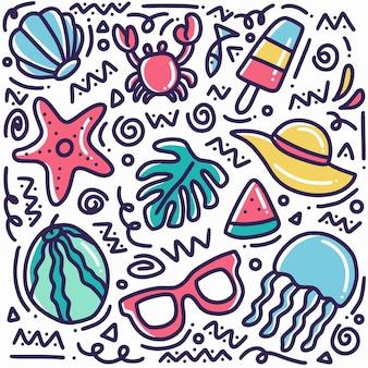 Hand gezeichnete sommerstrand-gekritzel gesetzt mit ikonen und gestaltungselementen
