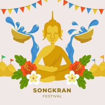 Hand gezeichnete songkran-illustration