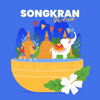 Hand gezeichnete songkran-illustration