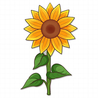Hand gezeichnete sonnenblume