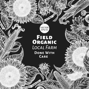 Hand gezeichnete sonnenblumen-entwurfsschablone. vektorbauernhofillustrationen auf kreidetafel. vintage natürlicher hintergrund