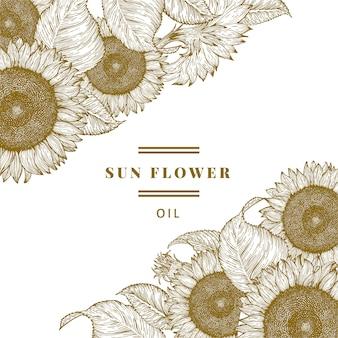 Hand gezeichnete sonnenblumen-entwurfsschablone.