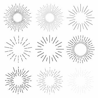 Hand gezeichnete sonnenstrahlen, lineare zeichnung. mega set