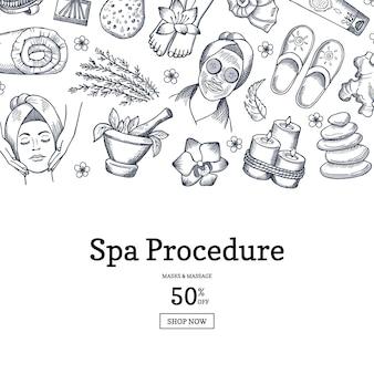 Hand gezeichnete spa-banner