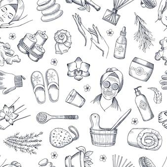 Hand gezeichnete spa-elemente hintergrund oder muster