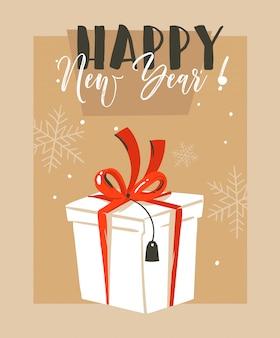 Hand gezeichnete spaß frohe weihnachten zeit waschbär illustration grußkarte mit großen weißen überraschung geschenkbox und happy new year typografie auf bastelpapier hintergrund