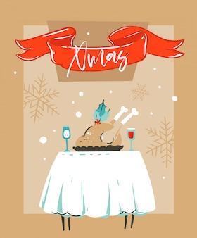 Hand gezeichnete spaß frohe weihnachten zeit waschbär illustration kartenvorlage mit weihnachtsessen auf tisch und mond im fenster auf bastelpapier hintergrund