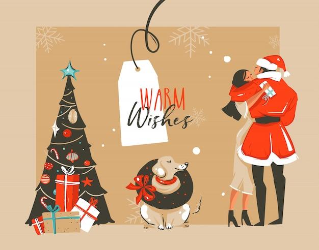 Hand gezeichnete spaß frohe weihnachten zeit waschbär illustration mit romantischen paar, das küssen und umarmen, hund, weihnachtsbaum und warm wishes typografie auf handwerk hintergrund