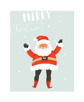 Hand gezeichnete spaß frohe weihnachten zeit waschbär illustrationen kartenvorlage mit weihnachtsmann und moderne kalligraphie phase auf blauem hintergrund