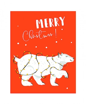 Hand gezeichnete spaß frohe weihnachten zeit waschbär illustrationen kartenvorlage mit weißen eisbär und lichter girlande auf rotem hintergrund