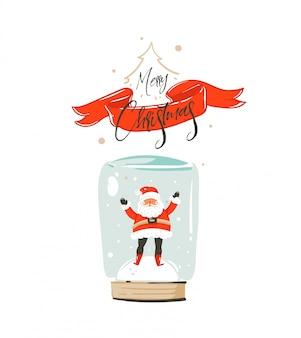 Hand gezeichnete spaß frohe weihnachten zeit waschbär karte mit niedlichen illustration von santa claus in schneekugel birne und kalligraphie frohe weihnachten auf rotem band auf weißem hintergrund